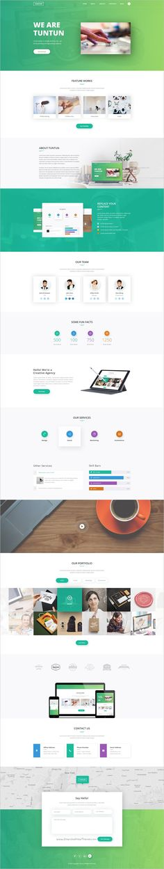 Tuntun is a unique and #creative #PSD template for #webdesign corporate agency, creative studio or for portfolio websites with clean and modern design download now➩ https://themeforest.net/item/tuntun-creative-one-page-psd-template/19207820?ref=Datasata