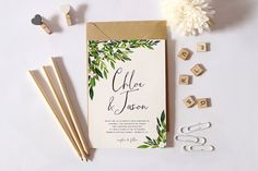 Printable Wedding Invitation SetSimple Wedding by plpapers on Etsy