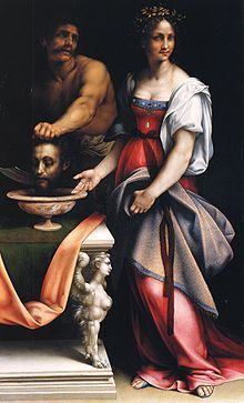 Salome, oil on canvas   Cesare da Sesto. The painting depicts the head of Saint John the Baptist at the request of Herodias, the wife of Herod, and his head was presented to her daughter Salome on a charger.