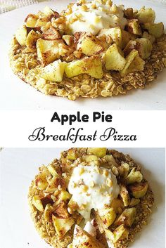 Make this #healthy Apple Pie Breakfast Pizza for breakfast this morning! Its super easy to make, filling and tastes amazing! #vegan #glutenfree
