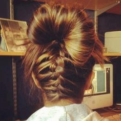back braid bun UGH I gotta figure out how to do this on my own head!