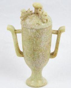 Dinastía Ming Jade Lidded funeraria Embarcaciones W / COA