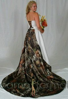 "As much as ordering a wedding dress online ""breaks tradition""...I really want this dress with the white realtree camo...perfect for our wedding!"