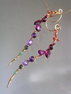 In Between the Rainbow...Gemstone Encrusted Signature and Original Gold Filled Curved Vine Earrings..amethyst sapphire garnet emerald. $168.00, via Etsy.