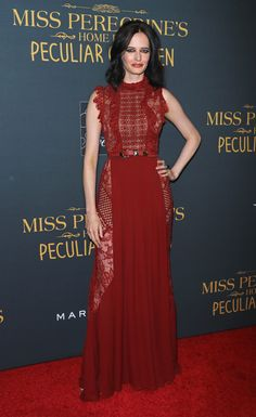 "Actress Eva Green in ELIE SAAB Ready-to-Wear Autumn Winter 2016-17 at the ""Miss Peregrine's Home For Peculiar Children"" New York premiere."