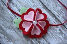 Valentine Felt Flower Headband or Hair Clip