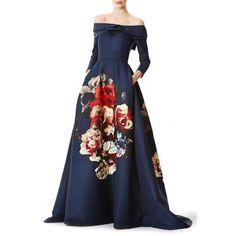 Vintage Style Square Neck Long Sleeve Floral Print Women's Maxi Dress - BLUE XL
