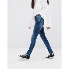 Pepe Jeans Pixie Skinny Jeans (350 SAR) ❤ liked on Polyvore featuring jeans, blue, pepe jeans london, skinny fit denim jeans, 5 pocket jeans, skinny fit jeans and skinny jeans
