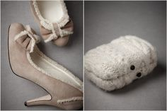 cozy round toe pumps from BHLDN, wool knit clutch from BHLDN, winter wedding fashion, winter bride, winter wedding