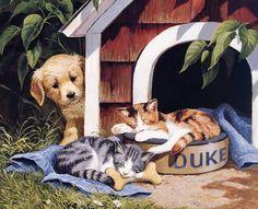 Pinturas con el perro y el gato. Persis Clayton Presas