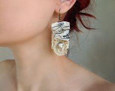 Shabby Chic Crochet Earrings Cream Earrings Textile by Elyseeart