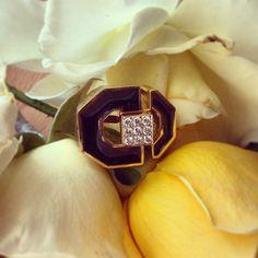 A vintage David Webb enamel and diamond ring. Stunning! TrumpetandHorn.com