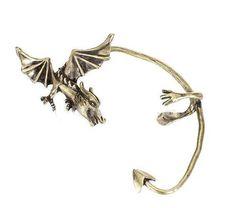 Flying Dragon Bite Ear Wrap Cuff Earrings