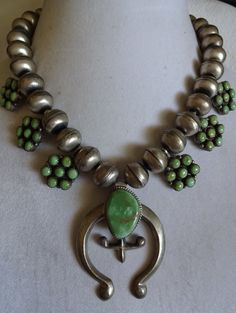 Vintage Green Turquoise Cluster SQUASH BLOSSOM Necklace with Single Strand of Huge 15mm NAVAJO Pearls