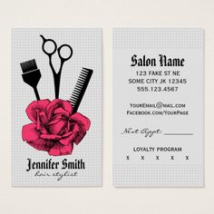 Shop chic vintage hairstylist hair stylist girly pink appointment card created by hellohappy. Makeup Business Cards, Modern Business Cards, Business Card Design, Hair Color Brush, Beauty Salon Logo, Beauty Salons, Hairstylist Business Cards, Business Hairstyles, Salon Design