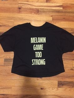 MELANIN GAME TOO STRONG Black w/Gold Graphic Detail Crop Top Tee | Dope On Arrival NYC