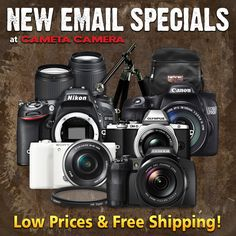 Great Prices + Free Shipping on value-packed kits featuring the Nikon D7100, Canon 70D, Sony A5100, Fujifilm S1, Olympus E-M10 and more! http://www.cameta.com/exclusive-deals.cfm