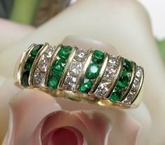SAVE $300 on this Stunning 18k TIFFANY Emerald Diamond Band Ring: $3875 Appraisal. Now it can be yours for only $1595 during our SPRING FEVER SALE until March 28th