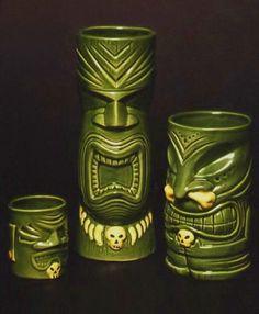 Cool Tiki mugs! Tiki Bar, Tiki Mugs, Tiki Decor, Vintage Tiki!
