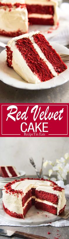 This is the BEST Red Velvet Cake recipe, and with my tips, it is so easy to make. Bright red, perfect, velvety sponge with fluffy cream cheese frosting. Oreo Dessert, Coconut Dessert, Mini Desserts, Brownie Desserts, Food Cakes, Cupcake Cakes, Cake Fondant, Sweets Cake, Baking Cupcakes
