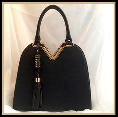 Black Handbag with Rhinestones/Tassel
