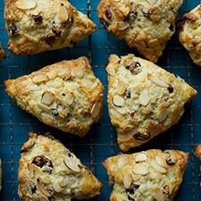 Basic building-blocks recipe for scones: King Arthur Flour.  Would be awesome with fresh raspberries, sliced/slivered almonds, and vanilla extract!
