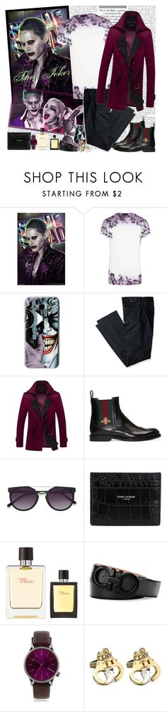 """The Joker"" by fashionistlady ❤ liked on Polyvore featuring River Island, Casetify, Levi's, Gucci, Ace, Yves Saint Laurent, Hermès, Salvatore Ferragamo, Topman and men's fashion"