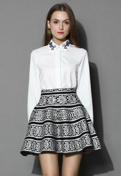 Beads Embellished Collar White Shirt - New Arrivals - Retro, Indie and Unique Fashion