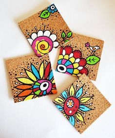 Handpainted coasters Come see some of the amazing things that I found this week on Etsy! Pottery Painting, Ceramic Painting, Painted Pottery, Painting On Tiles, Diy And Crafts, Arts And Crafts, Paper Crafts, Wal Art, Tile Crafts