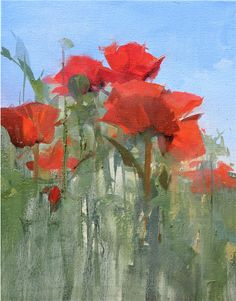 """""""Poppies"""" 14 x 11 oil on linen by Kathryn Mapes Turner.   #poppies #red #flowers #nature"""