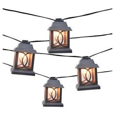 Smith & Hawken 10ct Decorative String Lights, Metal Lantern Cover with Plastic Insert