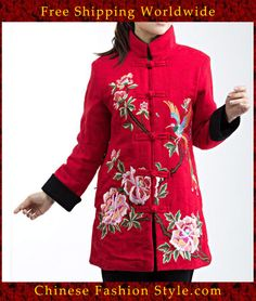 100% Handmade Pure Linen Blouse Shirt Top - Oriental Chinese Embroidery Art #136 http://www.chinesefashionstyle.com/jackets-blouses/
