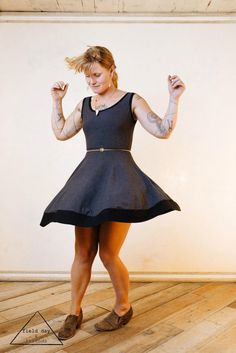 High Waisted Tea Dress in Charcoal Grey by WhiskeyDogWares on Etsy, $75.00
