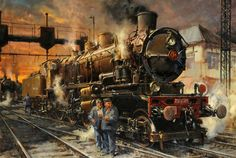 'See, Here Is A Picture Of My Granddaughter'. 1978 oil on canvas by Terence Cuneo. Example of a painting always including a mouse, on the front cover of Railway Modelling (? Steam Railway, Train Art, Railway Posters, Old Trains, Car Drawings, Steam Engine, Steam Locomotive, Vintage Travel Posters, Cool Artwork