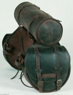 Rear saddlebag  medium size made from Leather with round saddle bag
