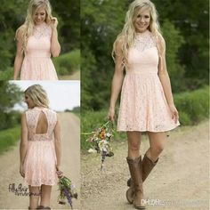 Modest Country Western Full Lace Peach Short Lace Bridesmaid Dresses 2017 A Line High Neck Sleeveless Wedding Party Formal Wear Cheap Black Bridesmaid Dresses Cheap Junior Bridesmaid Dresses From Alberta_dress, $63.31| Dhgate.Com