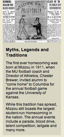 University of Missouri - Myths, Legends and Traditions: Homecoming!