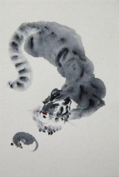 Tiger and mouse. Original ink painting sumi-e. Traditional japanese paper, ink. Framed. by KaeiJapan on Etsy