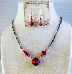 New w/Swarovski Siam/Light Siam Cushion Cut Crystal Pendant Necklace/Earring Set #HisJewelsCreationsDesign #Pendant