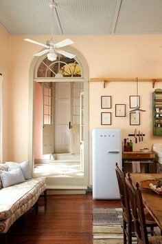 Old 038 New Bead board ceilings and a fresh coat of pale peach paint helped to update this New Orleans home Lonny Peach Rooms, Peach Walls, Beige Walls, Peach Bedroom, Blush Walls, Pink Walls, Bedroom Wall Colors, Room Paint Colors, Paint Colors For Living Room