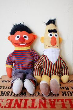 Sesame Street Knickerbocker Bert and Ernie Muppet by AlbinaVintage