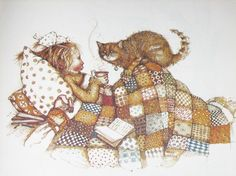 Holly Hobbie - sweet comforts (kitty-quilt-book-and something warm to drink and fluffy pillows)