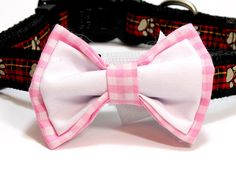 Medium Sized Pink Gingham and White Bowtie. Pink Ties, Bow Ties, Looking Dapper, Pink Gingham, Dog Bows, Girl And Dog, White Cotton, Girly, Boutique