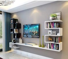 20 Outstanding Ideas For TV Shelves To Design More Attractive Living Room- 20 . - 20 Outstanding Ideas For TV Shelves To Design More Attractive Living Room- 20 Outstanding Ideas F - Living Room Tv Cabinet Designs, Living Room Designs, Bedroom Tv Unit Design, Tv Unit Interior Design, Living Room Cabinets, Tv Wall Decor, Room Decor, Wall Decorations, Wall Tv