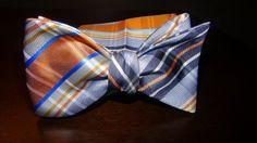 Orange Black Plaid Self Tie Bow Set | B&J