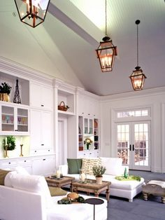 Grey ceiling and white walls(with built in cabinets)