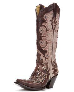 Corral Women's Bone/Tan Inlay and Studs Boot - G1070