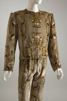 Man's suit by Mr. Fish. Stenciled beige velvet. Circa 1970, England
