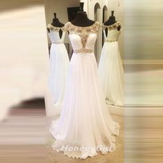 HG452 Prom Dress, Popular Prom Dress,White Prom Dress,Beaded