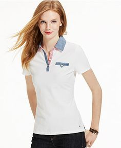 622c03dd67 Tommy Hilfiger Short-Sleeve Chambray-Trim Polo Top - Tommy Hilfiger Tops -  Women